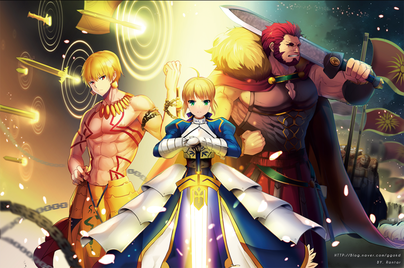 __artoria_pendragon_saber_gilgamesh_and_