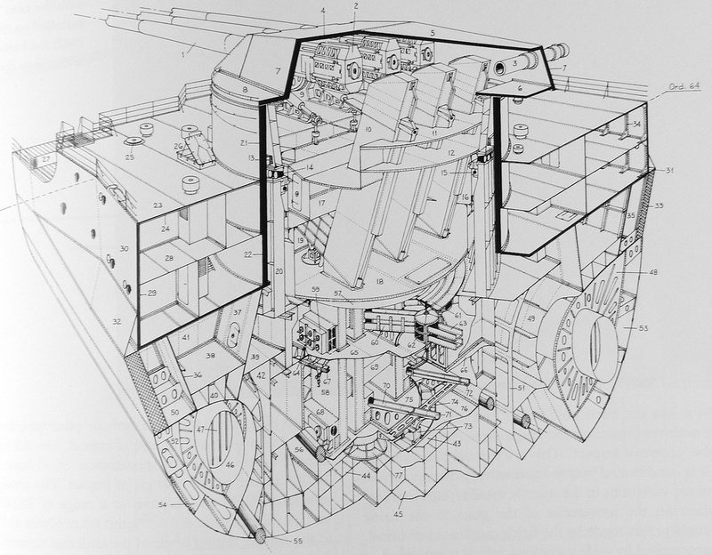 Cut-away Diagram of a Littorio-class Battleship at the Aft 15-Inch Turret