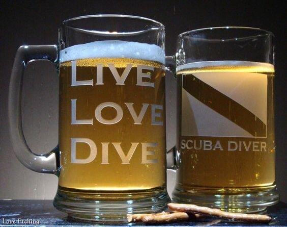 LIVE LOVE DIVE Scuba Diver Etched Glass Beer Mug by LoveHandyWork