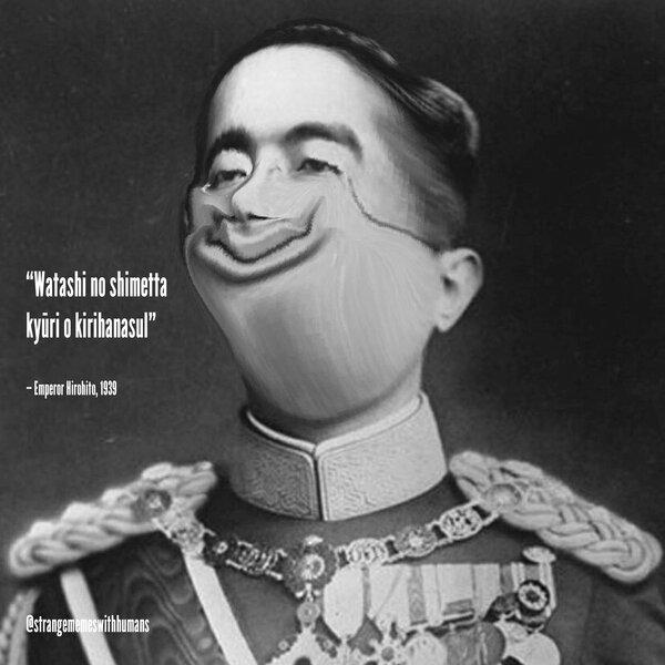 "love&scoodoop on Twitter: ""second meme. enjoy. #japan #hirohito #meme #dank  #strange #emperor #black #white… """
