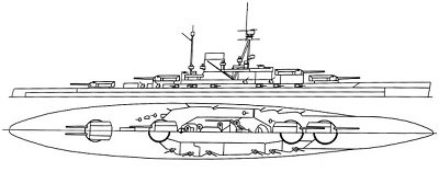 Illustration of a large ship with two tall masts, a large funnel amidships, and four large gun turrets on the center line.