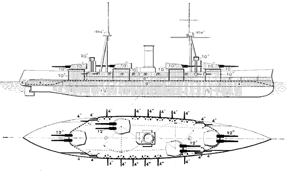 The ship carries four twin-gun turrets, one centered forward, one behind and to the right side of the ship, another further behind and to the left, and the last centered aft. Numerous smaller guns are distributed along the sides of the vessel.