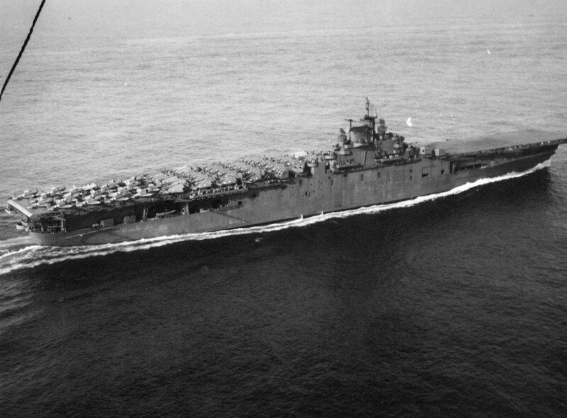 USS Essex leaving Norfolk, Virginia, United States, for shakedown exercises, 15 Mar 1943.