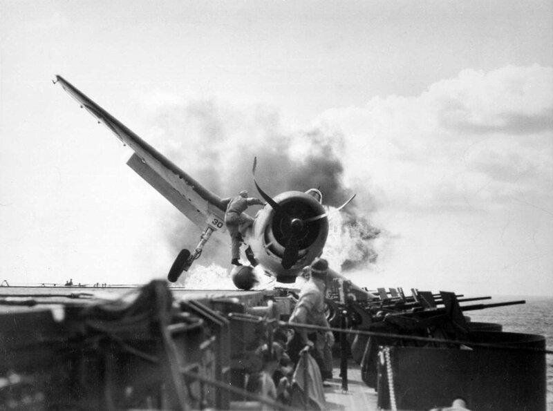 Ensign Byron Johnson's F6F Hellcat crash landed on Enterprise, 10 Nov 1943